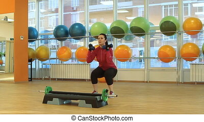 femme, dum, exercice, jeune