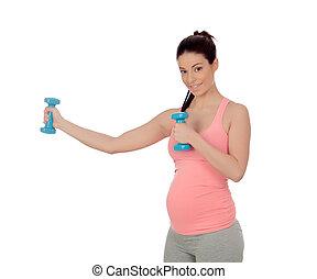 femme, dumbbells, exercice, pregnant