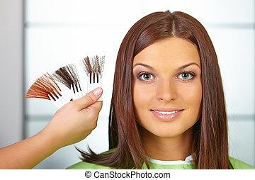 femme, dye., couleur, cheveux, choses, salon.