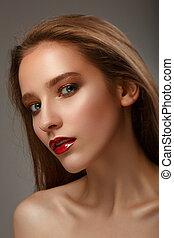 femme, e, maquillage, jeune, chaud, clair, lèvres, sexy, modèle, fort, rouges