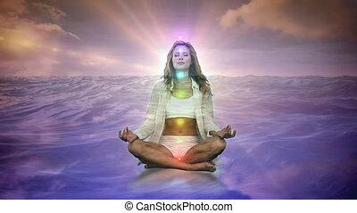 femme, eau, méditer