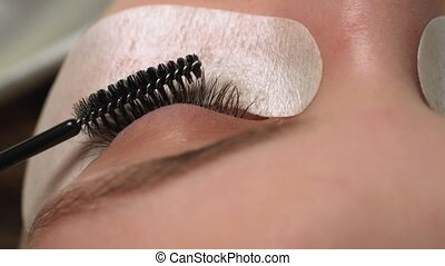 femme, effect., cil, procedure., foyer., extension, sélectif, oeil, haut, long, bleu, fin, eyelashes., ombre