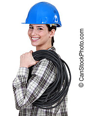 femme, electrician.