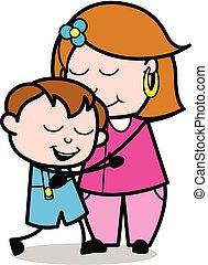 femme, elle, -, étreindre, fils, vecteur, illustration, maman, mère, femme foyer, dessin animé, retro