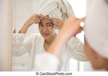 femme, elle, acné, front, urgent, asiatique