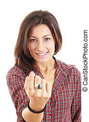 femme, elle, appeler, doigt, fond, blanc
