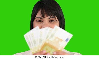 femme, elle, argent, projection, nous, asiatique, gentil