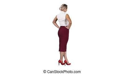 femme, elle, arrière-plan., mettre, mains, blanc, hanches