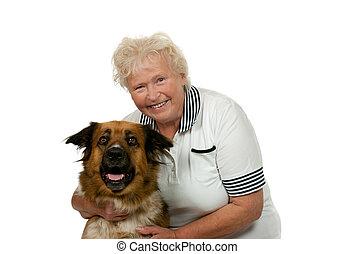 femme, elle, backgound, chien, personne agee, blanc