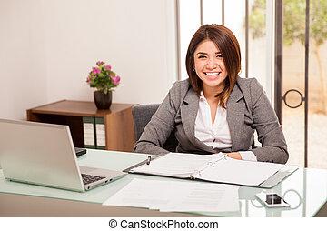 femme, elle, bureau, heureux