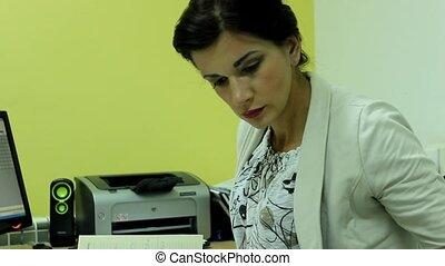 femme, elle, bureau