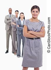 femme, elle, business, bras, leur, équipe, croisement, sourire