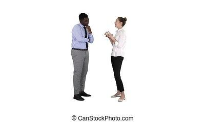 femme, elle, business, donner, quelques-uns, idées, patron, arrière-plan., blanc