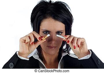 femme, elle, business, figure, cigarette, infront, tenue,...