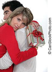 femme, elle, cadeau, remercier, sien, petit ami
