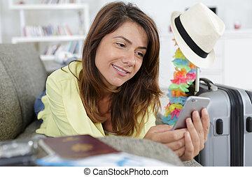 femme, elle, cellphone, utilisation, jeune