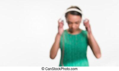 femme, elle, chanson, favori, écoute, agréable