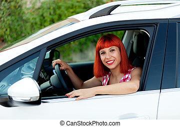 femme, elle, chevelure, voiture, nouveau, rouges