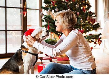 femme, elle, chien, arbre., personne agee, noël