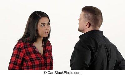 femme, elle, discuter, fâché, him., claques, blanc, homme