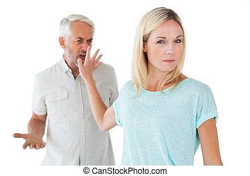 femme, elle, fâché, écoute, pas, associé