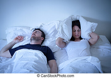 femme, elle, fatigué, lit, ronflement, ennuyé, petit ami