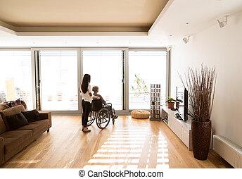 femme, elle, fauteuil roulant, daugher., jeune, handicapé,...