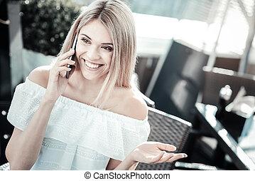 femme, elle, interlocutor, positif, écoute, gentil
