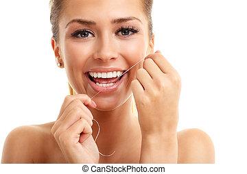 femme, elle, isolé, flossing, adulte, dents, blanc