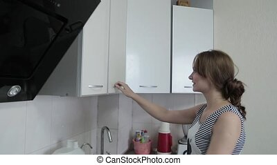 femme, elle, jeune, dîner, joli, prépare, cuisine