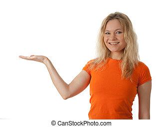 femme, elle, jeune, haut, main, paume, tenue, sourire