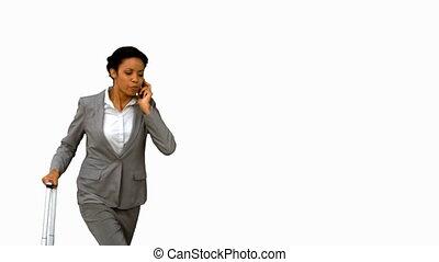 femme, elle, lancement, wh, tard, téléphone