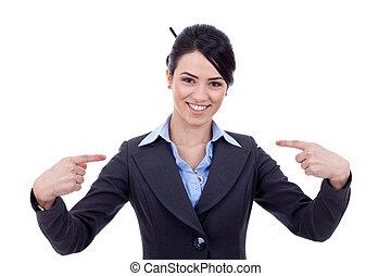femme, elle-même, business, pointage