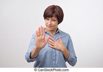 femme, elle, main., stop, mûrir, confection, portrait