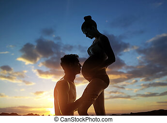 femme, elle, mari, pregnant