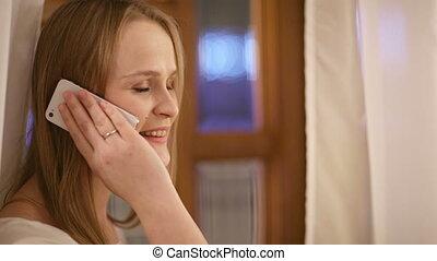 femme, elle, mobile, plaisir, sourire, parler