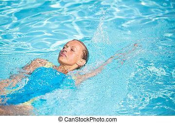 femme, elle, nageur, joints, piscine, accentuer, quotidiennement, obtenir, sans, joli, dose, exercice