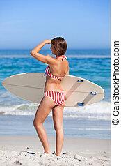 femme, elle, planche surf