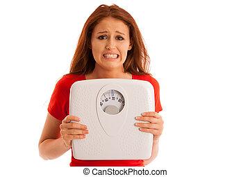 femme, elle, poids, sur, isolé, malheureux, tristesse, échelle, fond, blanc, faire gestes, souci