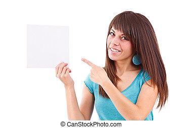 femme, elle, pointage, jeune, main, vide, carte