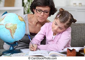 femme, elle, portion, enfant, devoirs, géographie