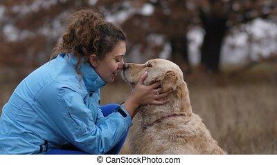 femme, elle, positif, chien, liaison, dehors