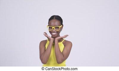 femme, elle, projection, jeune, figure, quoique, africaine, sourire heureux