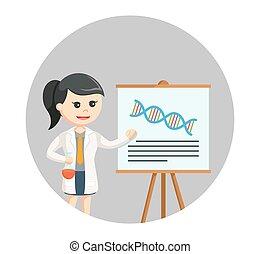 femme, elle, recherche, scientifique, fond, cercle, présentation
