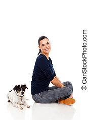 femme, elle, séance, chouchou, moderne, chien