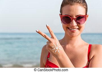 femme, elle, soleil, projection, paix, jeune, main, forme, a, plage, geste