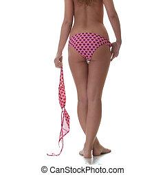 femme, elle, sommet, -, jeune, topless, bikini, main