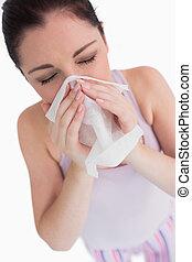femme, elle, soufflant nez
