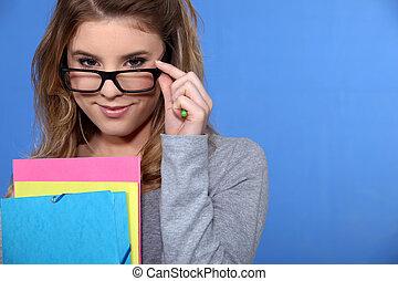 femme, elle, sur, regarder, jeune, lunettes