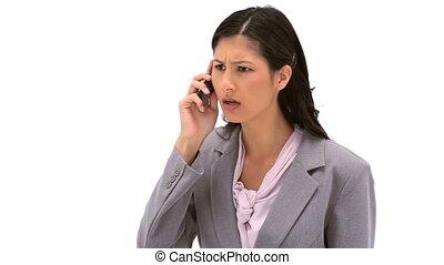 femme, elle, téléphone portable, utilisation, sérieux